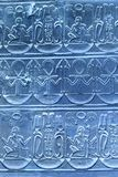 Szczegół Antyczni Hieroglyphics Błękitni Fotografia Royalty Free