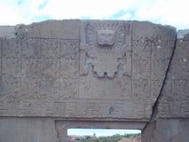 Szczegół bóg Viracocha rzeźbił w wysokiej uldze przy bramą słońce w Tiwanaku Zdjęcie Stock