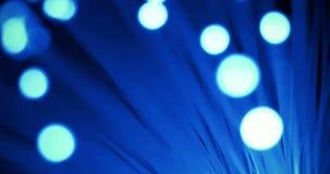 Szczegół błękitna narastająca wiązka z blaknie skutek światłowodu tło, technologia szybki lekki sygnał dla wysokiego prędkość int zdjęcie wideo