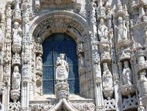 Szczegół biały okno w manuelino stylu monasteru dos Jerà ³ nimos w okręgu Belém w Lisbon w Portugalia Zdjęcie Royalty Free