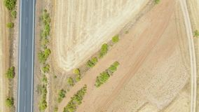 Szczegół brukująca droga na suchym wiejskim polu obok Fuente losu angeles Lancha zdjęcie wideo