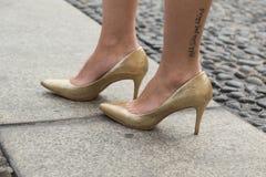 Szczegół buty przy Mediolańskim moda tygodniem Fotografia Stock
