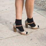 Szczegół buty przy Mediolańskim moda tygodniem Obrazy Stock