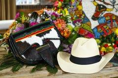 Szczegół Carriel, Silleteros parada, kwiatu jarmark, Medellin, Antioquia, Kolumbia obrazy stock
