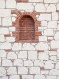 Szczegół ceglany portal w kamiennej ścianie Zdjęcie Stock