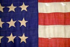 Szczegół Cywilnej wojny flaga w dobosz chłopiec muzeum w historycznym Andersonville Gruzja Zdjęcia Royalty Free