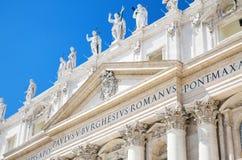Szczegół fasada bazylika święty Peter, watykan, Włochy Zdjęcia Royalty Free