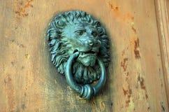 Szczegół fotografia stara metalu drzwiowego knocker lwa głowa Obraz Royalty Free