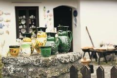 Szczegół garncarstwo dom w Tihany przy Jeziornym Balaton obrazy stock