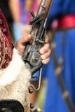 Szczegół Gyulaffy Laszlo banderium tradycyjne bronie i odziewa w Badacsony w 09 Wrzesień 2018 obraz royalty free