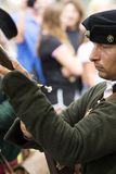 Szczegół Gyulaffy Laszlo banderium tradycyjne bronie i odziewa w Badacsony w 09 Wrzesień 2018 zdjęcie stock