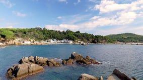 Szczegół Hiszpański wybrzeże przy latem Catalonia, Costa Brava, czasu upływ zbiory