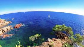 Szczegół Hiszpański wybrzeże przy latem Catalonia, Costa Brava, 4k zbiory