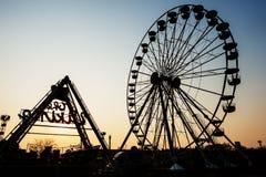 Szczegół I sylwetka Ferris koło Zdjęcia Royalty Free