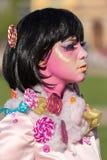 Szczegół jeden żywa statua kobiety multicolor ubierający Obraz Stock