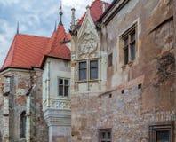 Szczegół jeden część od Corvin kasztelu Rumunia, Transylvania, Hunedoara obraz stock