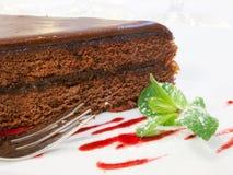 Szczegół kawałek czekoladowy tort Obraz Royalty Free