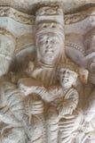 Szczegół kolumna monaster Sant Pere De Rodes, Hiszpania obraz royalty free