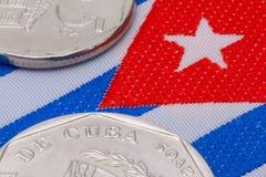 Szczegół kubańczyk flaga i moneta Zdjęcia Royalty Free