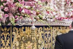 Szczegół kwiecista ornamentacja na tronie Święty tydzień, Linares zdjęcia royalty free
