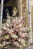 Szczegół kwiecista ornamentacja na tronie Święty tydzień, Linares zdjęcie royalty free