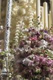Szczegół kwiecista ornamentacja na tronie Święty tydzień, Linares obraz stock