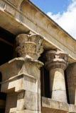 Szczegół lotos kształtował egipskie świątynne kolumny, Debod świątynia w Madryt, Zdjęcia Royalty Free