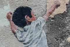 Szczegół Malująca dziecko sztuki koszykówka na betonowej ścianie dla ulicy George Town Penang malaysia Zdjęcie Stock