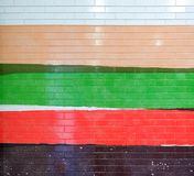 Szczegół malująca kafelkowa fasada w wibrujących kolorach Zdjęcie Stock