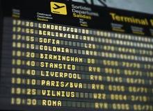 Szczegół międzynarodowego miejsca przeznaczenia lotniskowy panel obraz stock