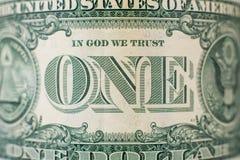 Szczegół na jeden dolarowym rachunku fotografia royalty free