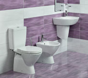 Szczegół nowożytna łazienka z zlew, toaletą i bidetem, obrazy stock
