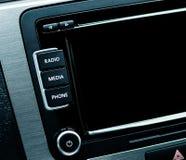 Szczegół od nowożytnego samochodu wewnętrzna samochodu w skórzany prędkość strony pojazdu Zdjęcia Stock