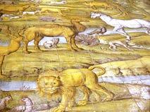 Szczegół od wygnania od ogródu rajskiego w Capri kościół obraz stock