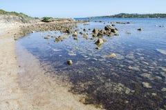 Szczegół odosobniona plaża, Sardinia, Włochy Zdjęcie Stock