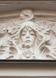 Szczegół pediment budynek, dekorujący w sztuki Nouveau stylu Obrazy Royalty Free