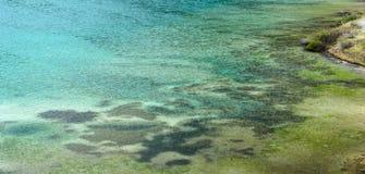 Szczegół piękny halny jezioro w dolomitach obrazy royalty free