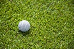 Szczegół piłka golfowa na trawie Zdjęcia Royalty Free