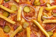 Szczegół pizza z grulami w górę zdjęcie royalty free