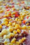 Szczegół pizza z kukurudzą Zdjęcia Royalty Free