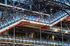 Szczegół Pompidou Centre, Paryż, przy zmierzchem Obrazy Stock