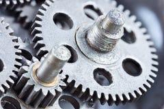 Szczegół przemysłowy gearwheels mechanizm, ekstremum makro- Obrazy Stock
