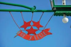 Szczegół robić w żelazie i lampie na słonecznym dniu w Burano restauracyjny logo Obrazy Stock