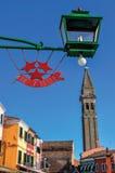 Szczegół robić w żelazie i lampie na słonecznym dniu w Burano restauracyjny logo Fotografia Stock