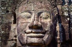 Szczegół rocznika kamienia twarz w Bayan świątyni przy Angkor Wat Zdjęcia Stock