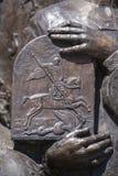Szczegół rzeźba święty George i smok w Ivano-Frankivsk, Ukraina Święty George Zwycięski dotyczy jako jeden Obrazy Royalty Free