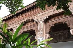 Szczegół rzeźbiący ornament, Bahia pałac, Marrakesh, Maroko Obraz Stock