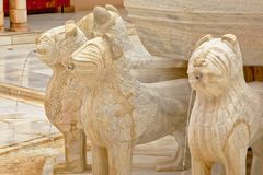 Szczegół sąd lwy, NAsrid pałac, Alhambra Zdjęcie Royalty Free