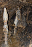 Szczegół sopleniec i stalagmit w Aggtelek zawalamy się zdjęcia stock