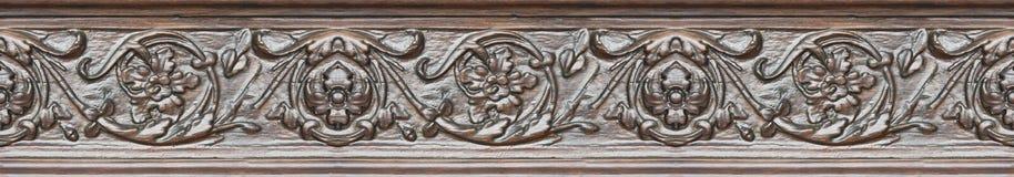 Szczegół stara włoska drewniana rzeźbiąca rama z kwiecistymi dekoracjami - semless wzór zdjęcia royalty free